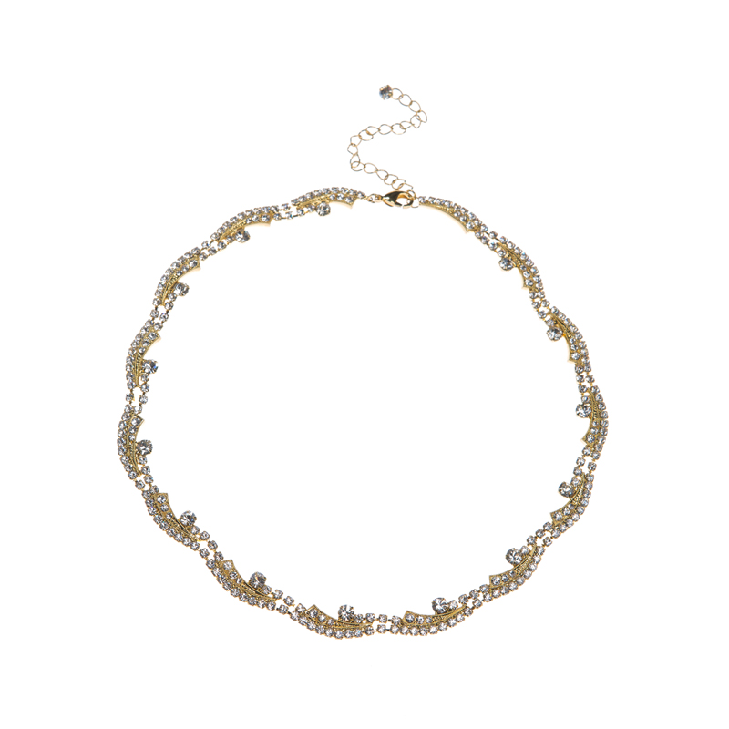 Classic rhinestone necklace, gold plating