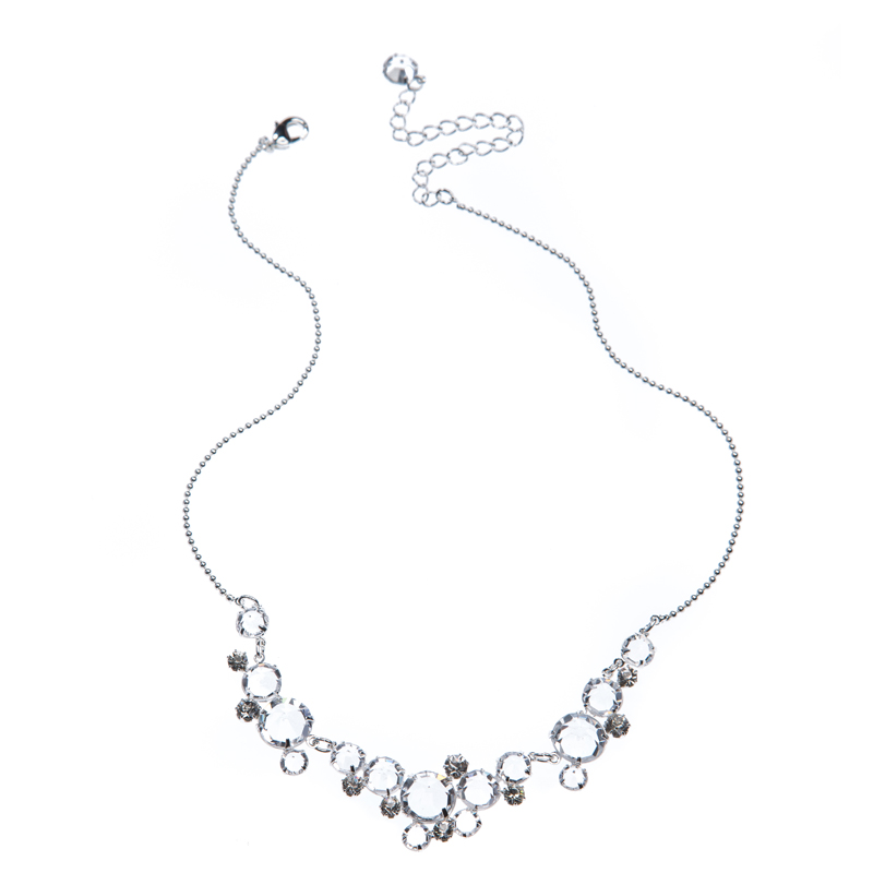 Compact necklace made of beautifull crystals, silver plated