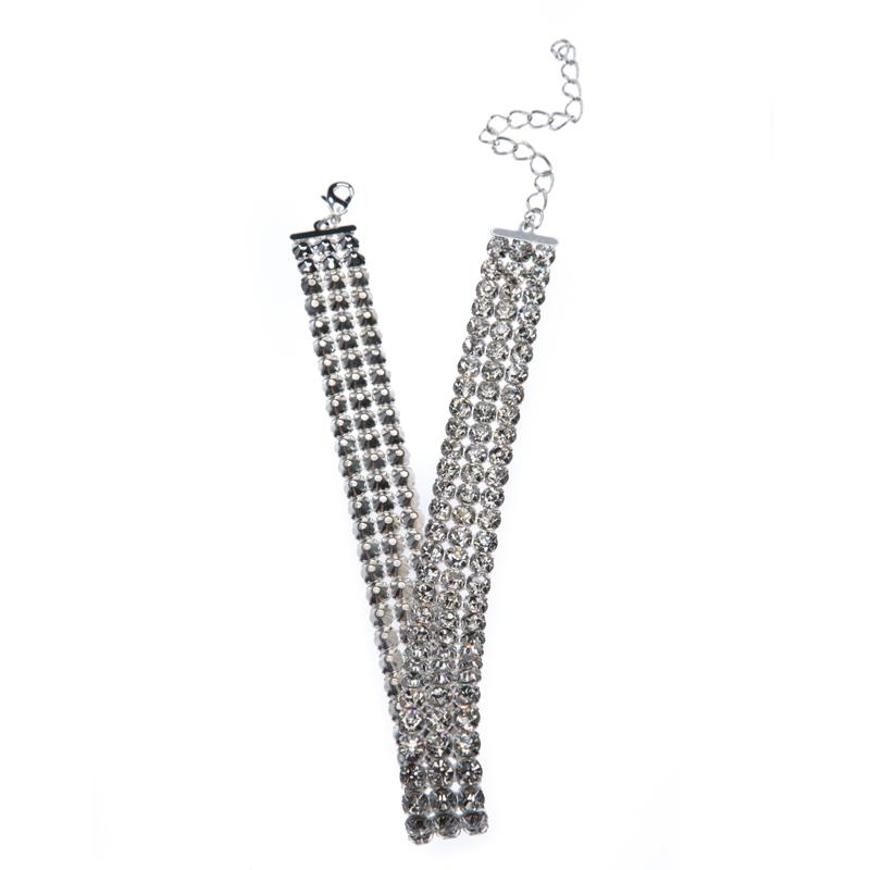 choker made of metal-set rhinestone banding, silver