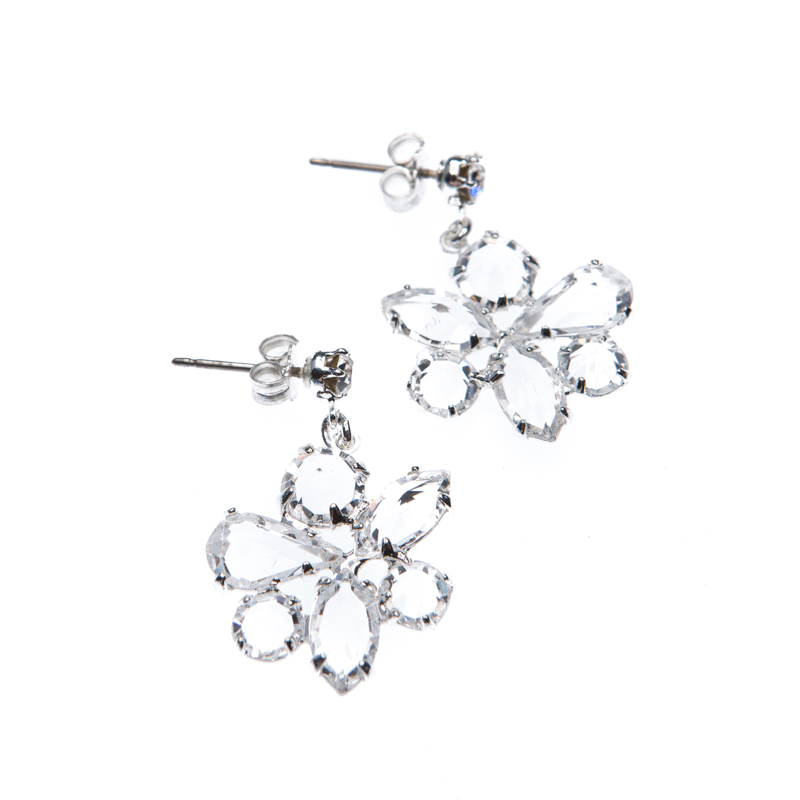 Earrings crystal silver plating, pin and butterfly closing