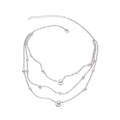 Pearl and strass combo necklace