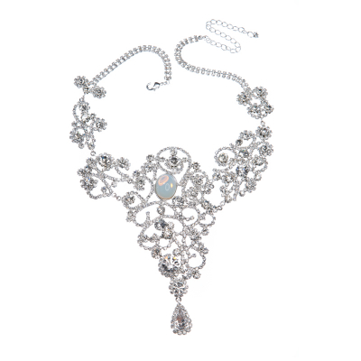 Exclusive strass necklace, silver plated