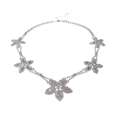 exclusive strass necklace, crystal / silver