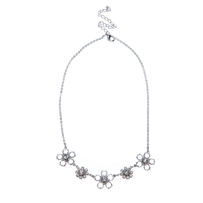 necklace made of clear crystals, silver plated