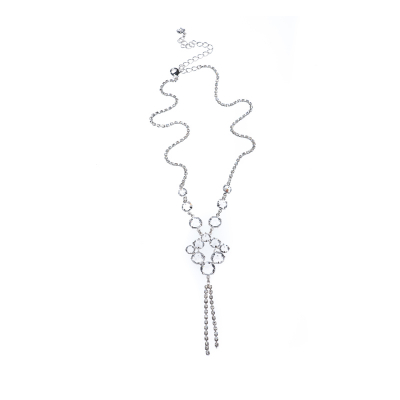 elegant necklace made of clear crystals, silver plated