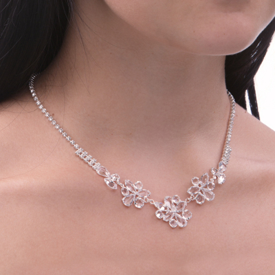 Beautiful necklace made from czech rhinestones with strass chain.