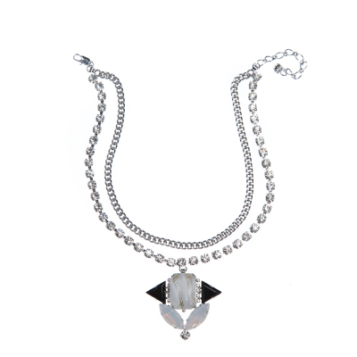 Elegant necklace rhodium