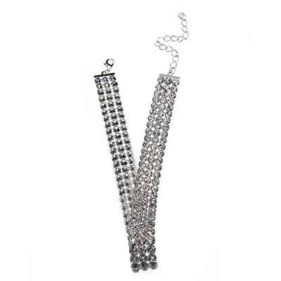 choker made of metal-set rhinestone banding, silver