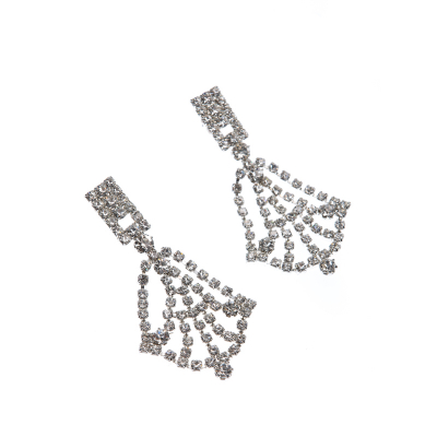 elegant earrings, crystal silver