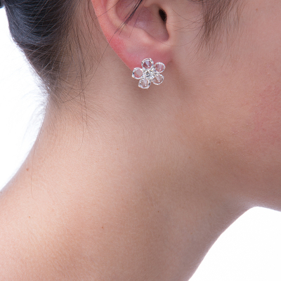 Earings with flower motive, silver plated