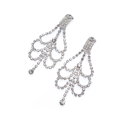 exclusive strass earrings, crystal / silver