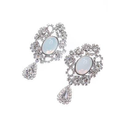 exclusive strass earrings, clip, crystal / silver