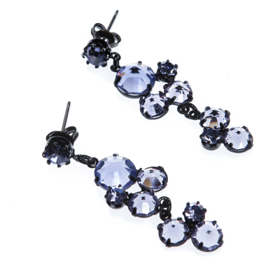 Elegant earrings made from czech colored rhinestones