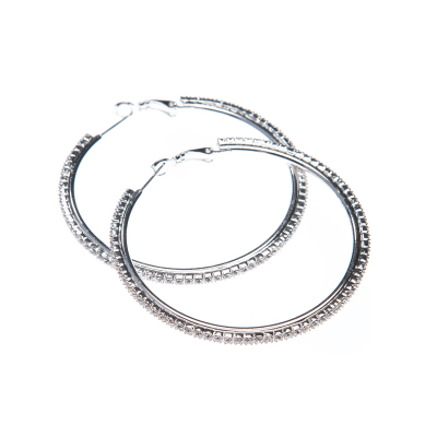 strass earrings, crystal / silver
