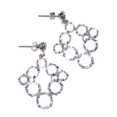 elegant earrings made of clear crystals, silver plated