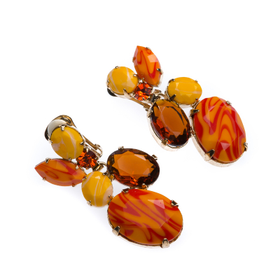 elegant earrings, antique gold plating