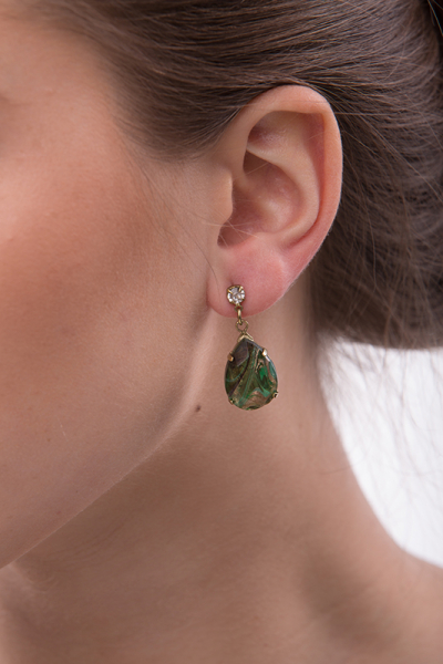 Earrings made from special handmade glass stones