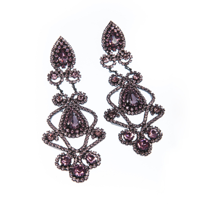 Beautiful strass earrings made from czech rhinestones, black