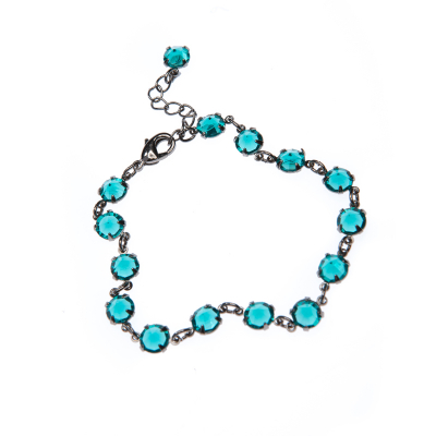 elegant bracelet made of clear crystals, paladium