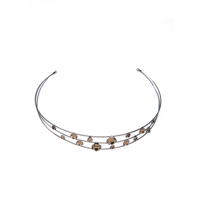 Tiara with transparent rhinestones