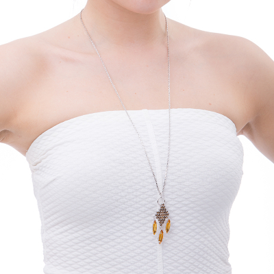 Cute and stylish necklace topaz - rhodium