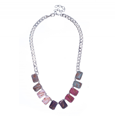 Stylish necklace in multiple colors - rhodium