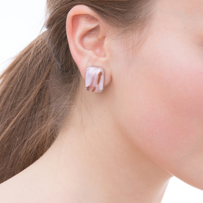Classy earrings purple tone - rhodium